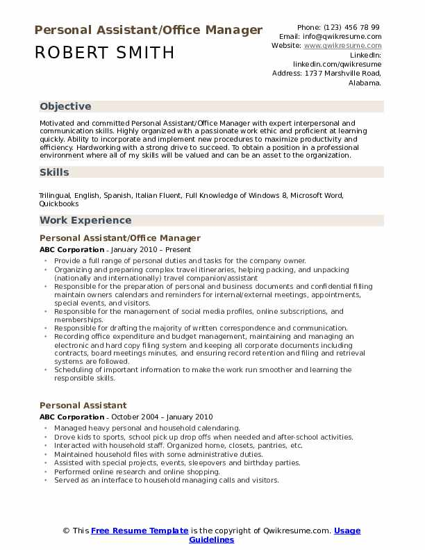 Personal Assistant Resume Samples Qwikresume