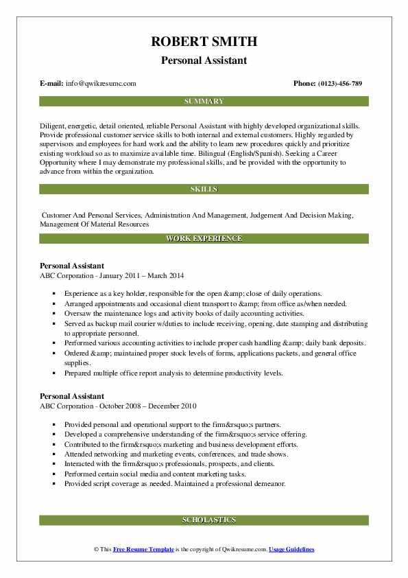 Personal Assistant Resume Model