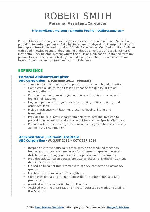 Personal Assistant/Caregiver Resume Example