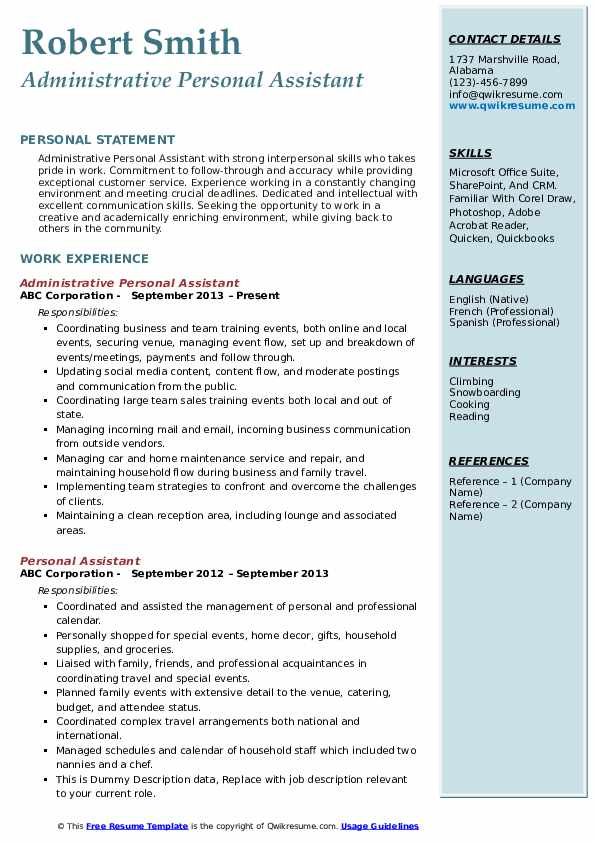 Administrative Personal Assistant Resume Format