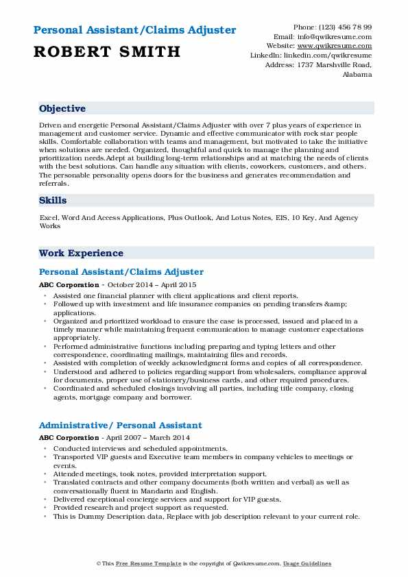 Personal Assistant/Claims Adjuster Resume Template
