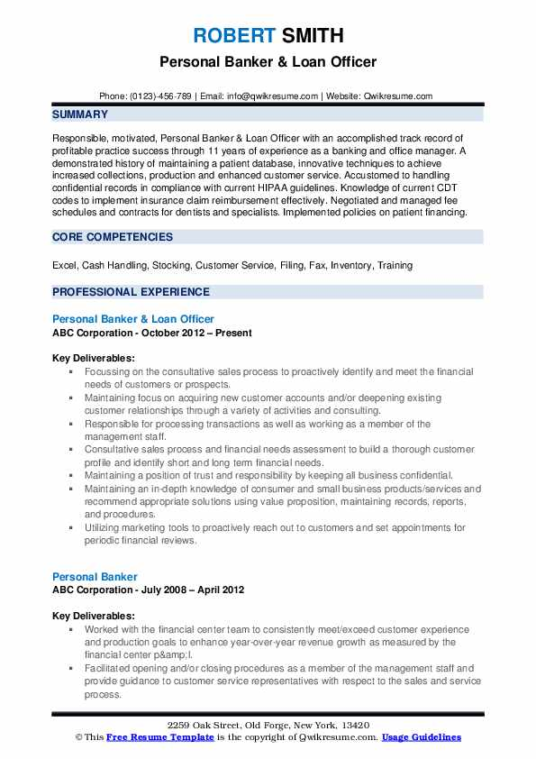 Personal Banker & Loan Officer Resume Format