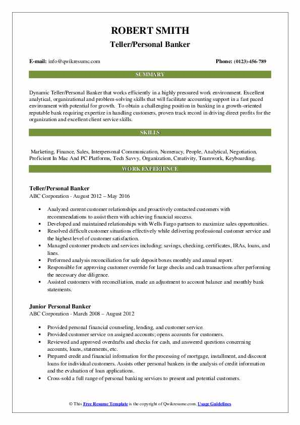 Personal Banker Resume Samples Qwikresume
