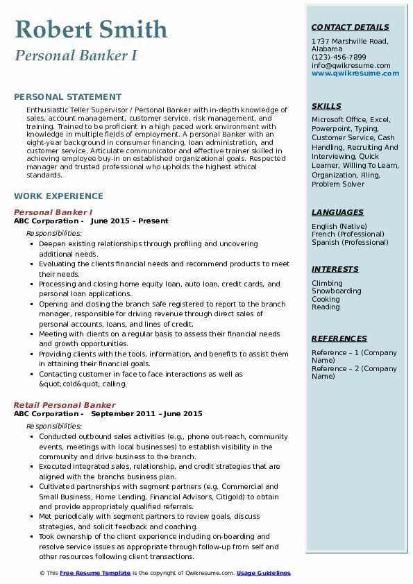 Personal Banker I Resume Sample