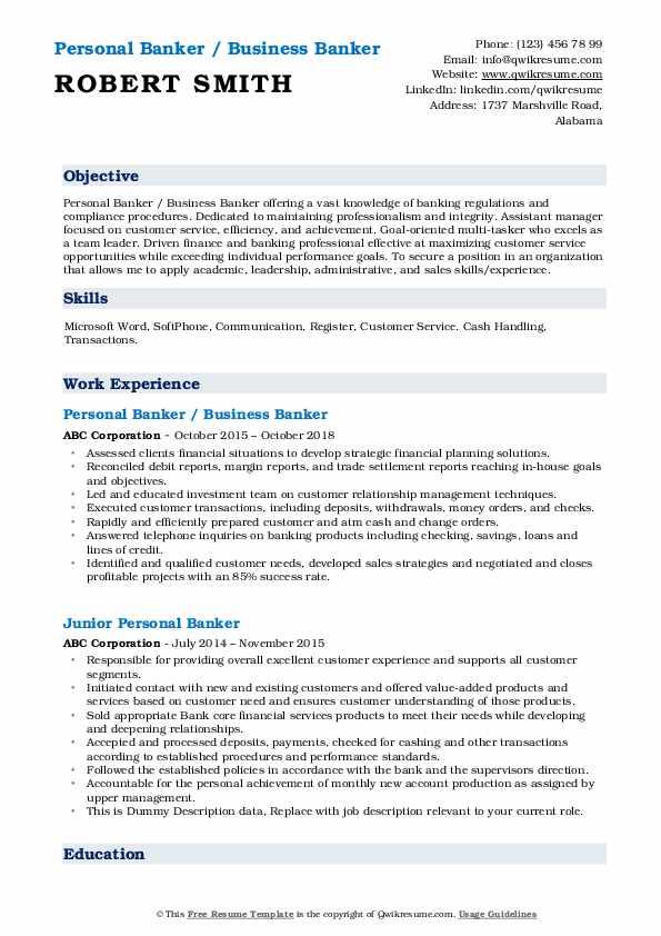 Personal Banker / Business Banker Resume Model