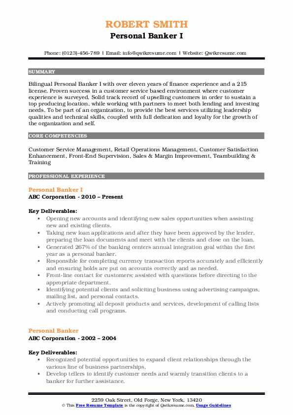 Personal Banker I Resume Example