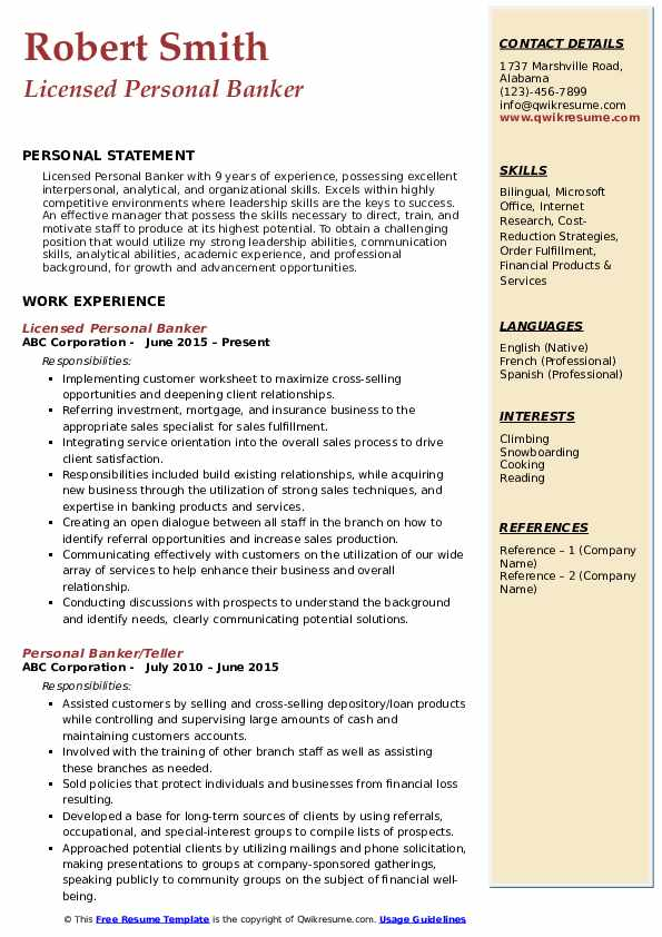 Licensed Personal Banker  Resume Example