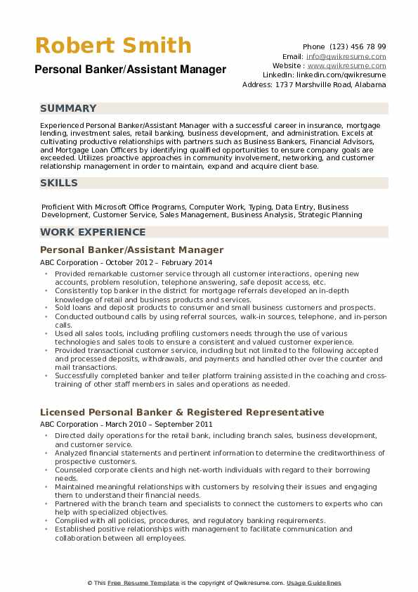 Personal Banker/Assistant Manager Resume Sample