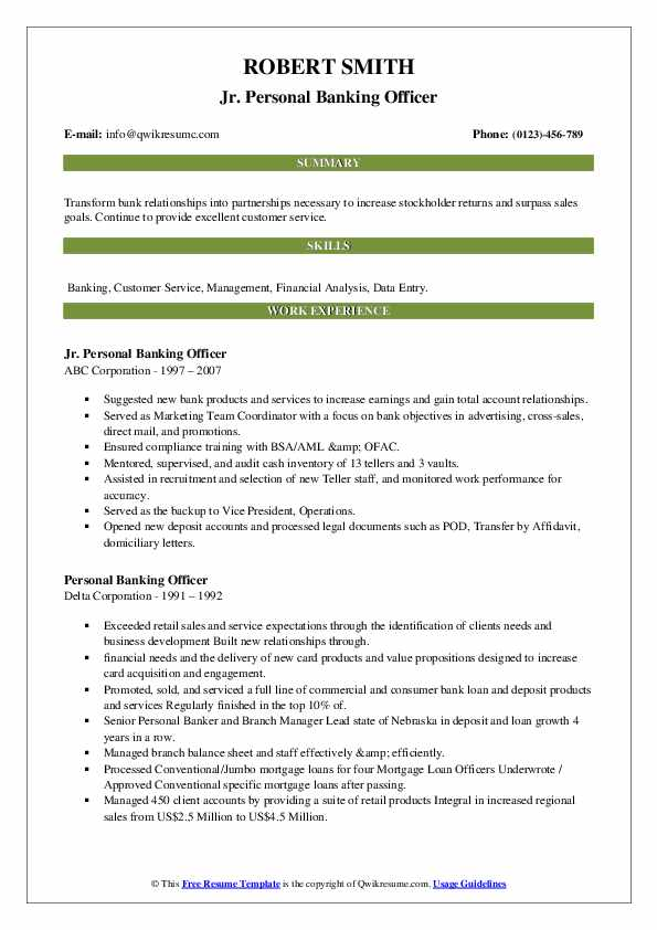 personal banking officer resume samples  qwikresume