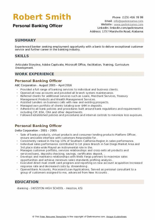 Personal Banking Officer Resume example