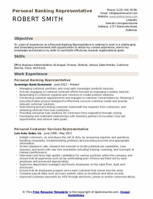 Personal Banking Representative Resume Samples