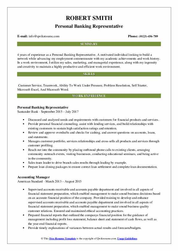 Personal Banking Representative Resume Samples Qwikresume