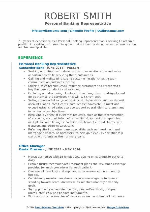 Personal Banking Representative Resume Format