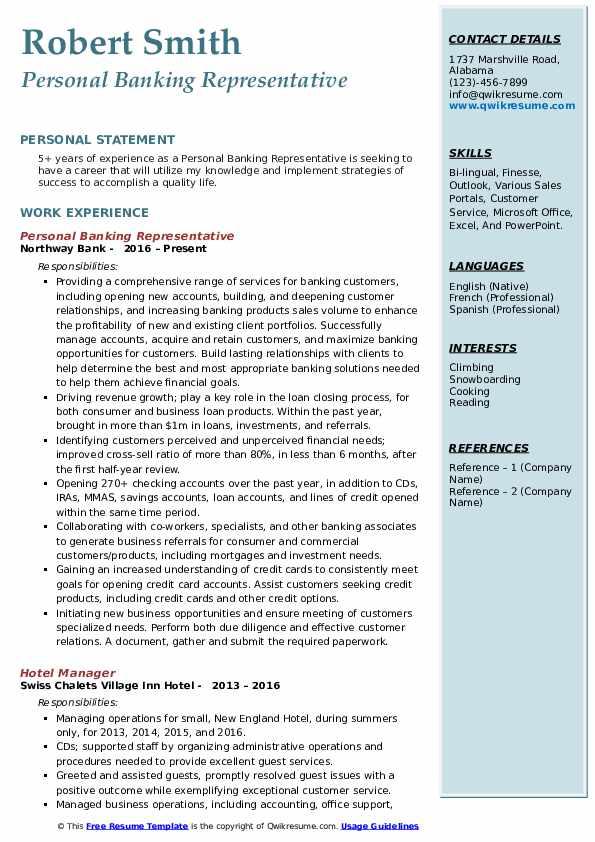 Personal Banking Representative Resume Sample