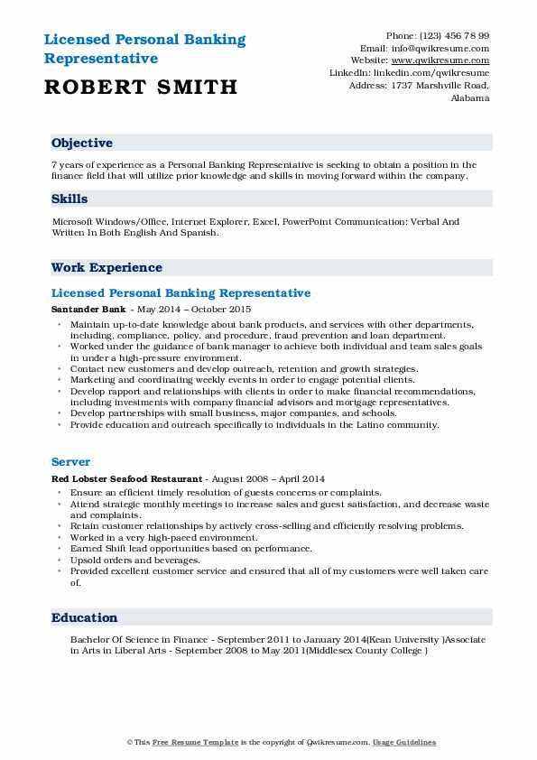 Licensed Personal Banking Representative Resume Format