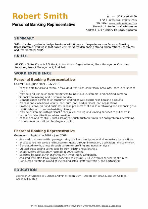 personal banking representative resume samples
