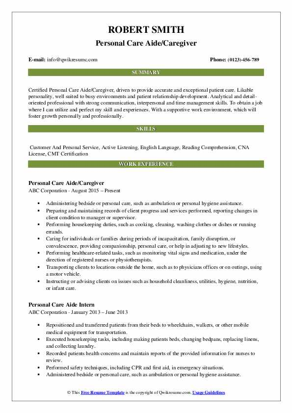 Personal Care Aide/Caregiver Resume Format