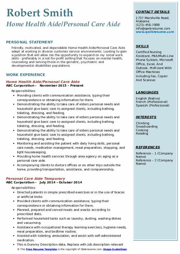 Home Health Aide/Personal Care Aide Resume Format