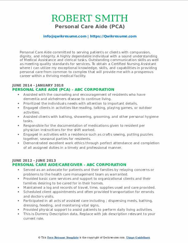 Personal Care Aide (PCA) Resume Sample