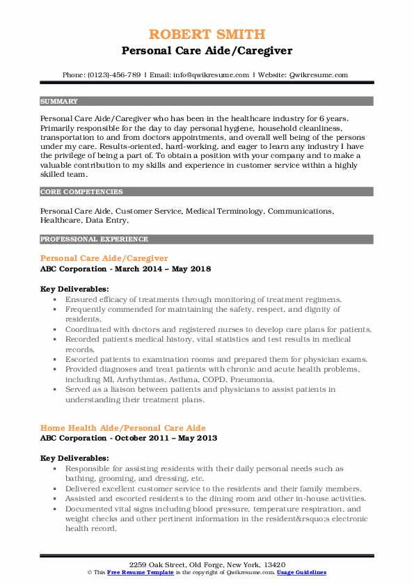 Personal Care Aide/Caregiver Resume Sample