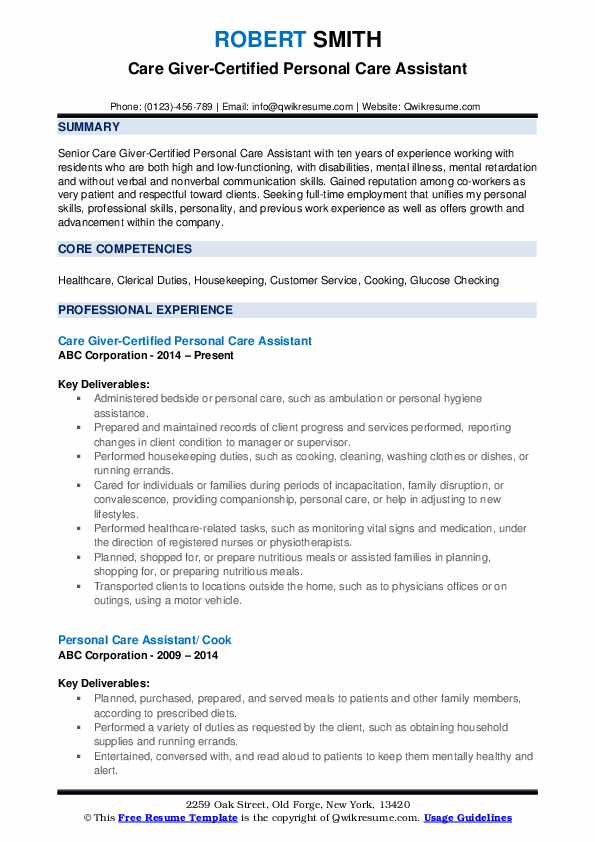Care Giver-Certified Personal Care Assistant Resume Example
