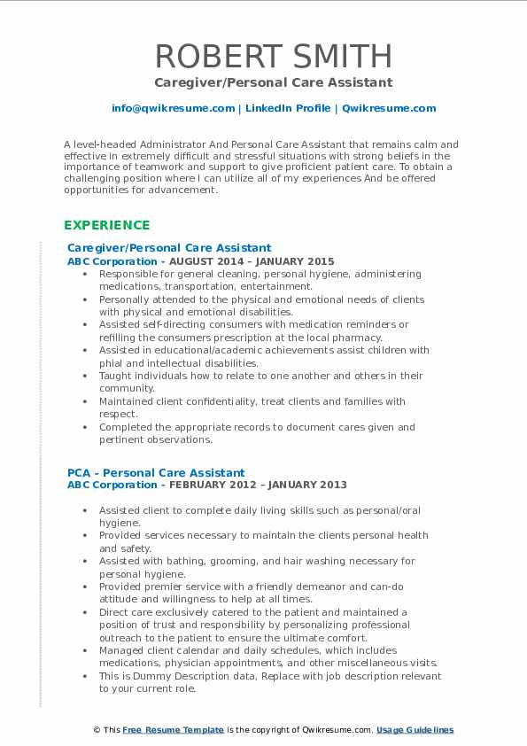 Caregiver/Personal Care Assistant Resume Format