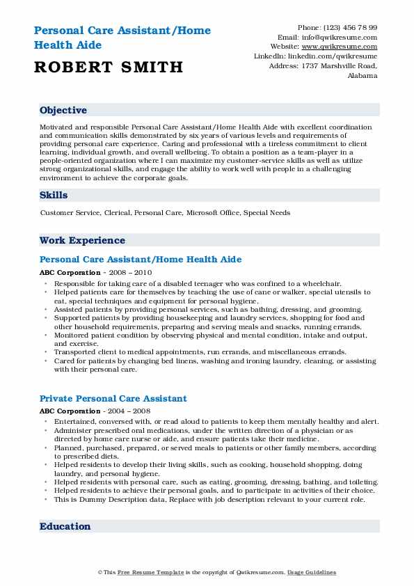 personal care assistant resume samples