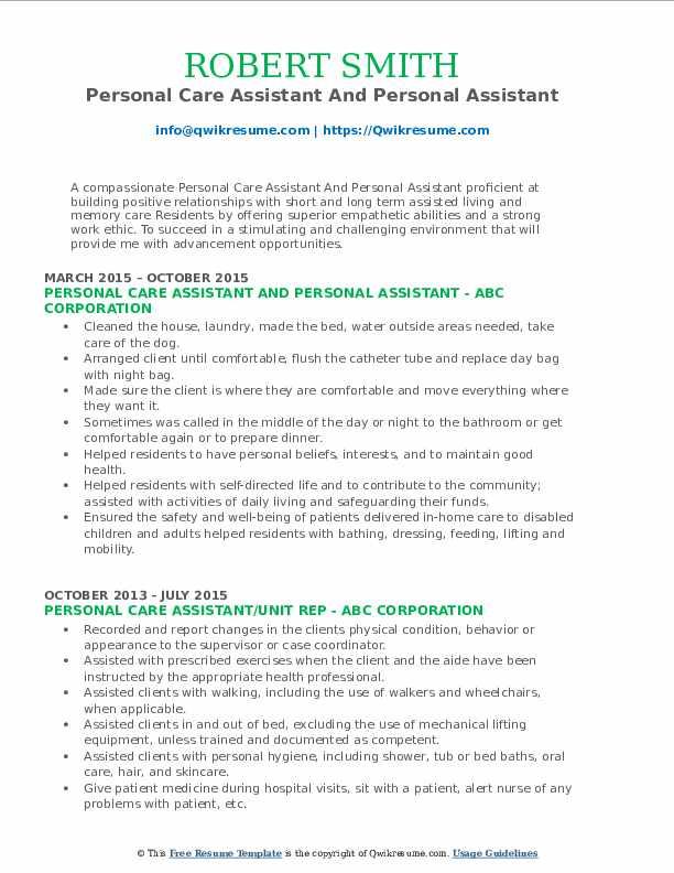 Personal Care Assistant And Personal Assistant Resume Model