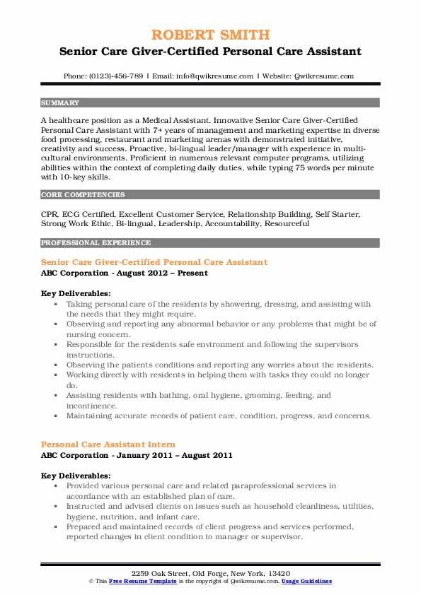 Senior Care Giver-Certified Personal Care Assistant Resume Example
