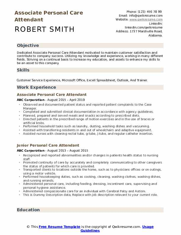 Associate Personal Care Attendant Resume Example