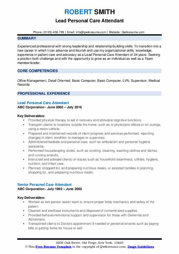 Lead Personal Care Attendant Resume Example