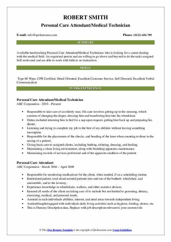Personal Care Attendant/Medical Technician Resume Example