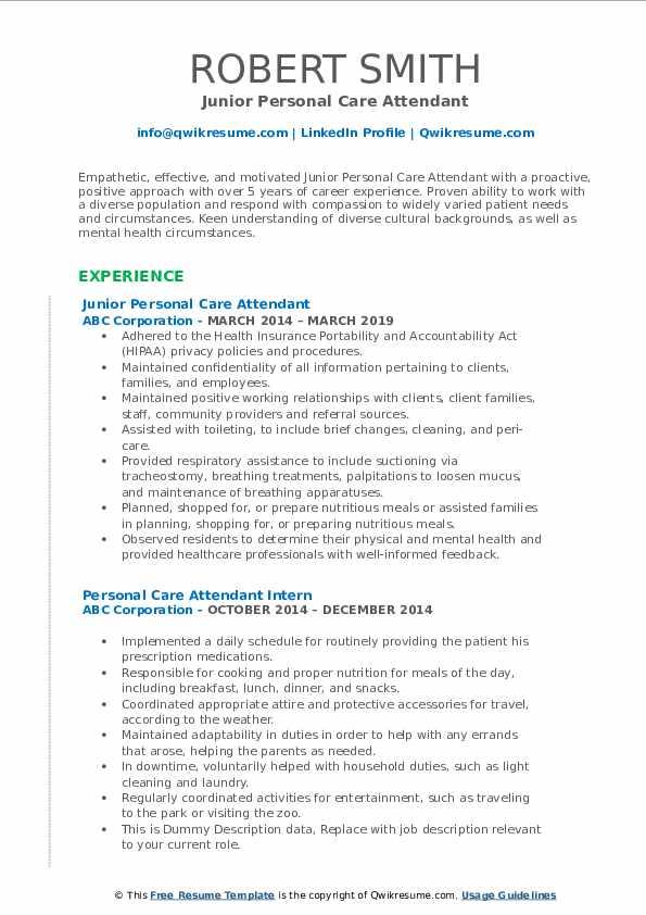 Junior Personal Care Attendant Resume Template