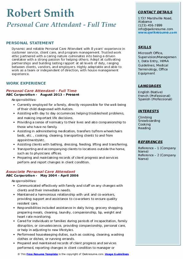 Personal Care Attendant - Full Time Resume Format
