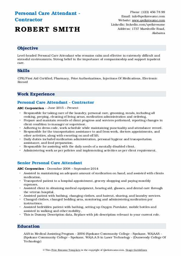 Personal Care Attendant - Contractor Resume Format