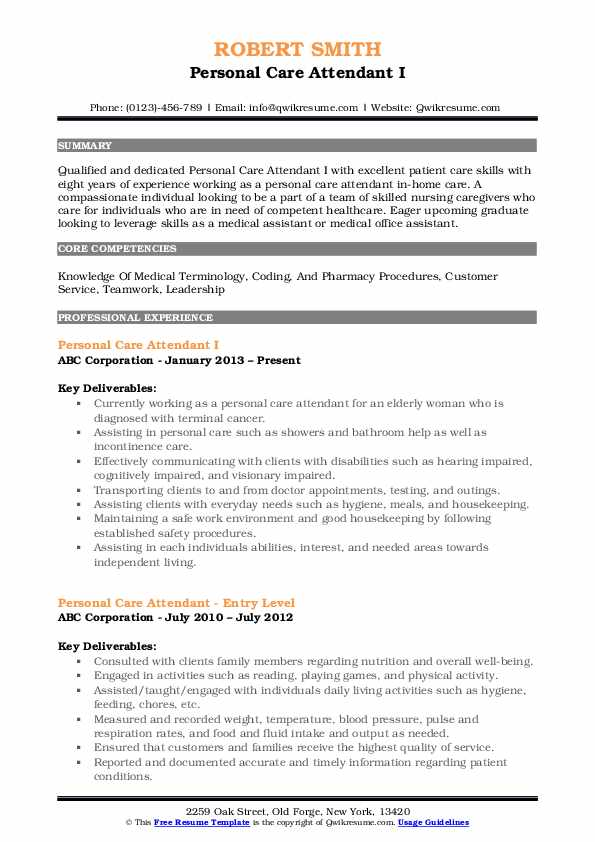 Personal Care Attendant I Resume Template
