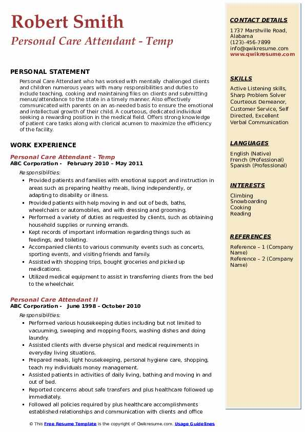 Personal Care Attendant - Temp Resume Format