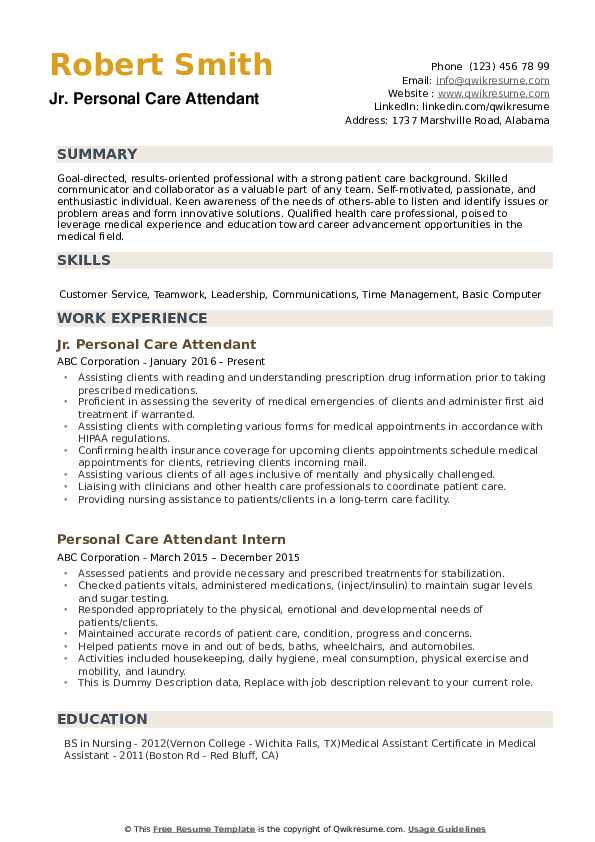 Personal Care Attendant Resume example