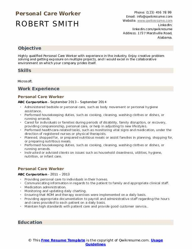 Personal Care Worker Resume Example