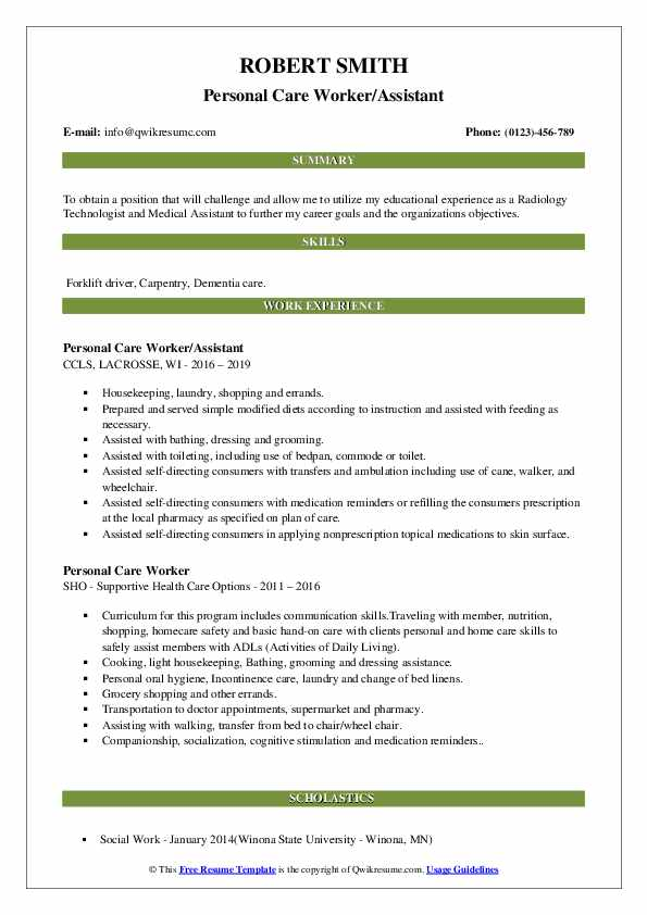 Personal Care Worker/Assistant Resume Example