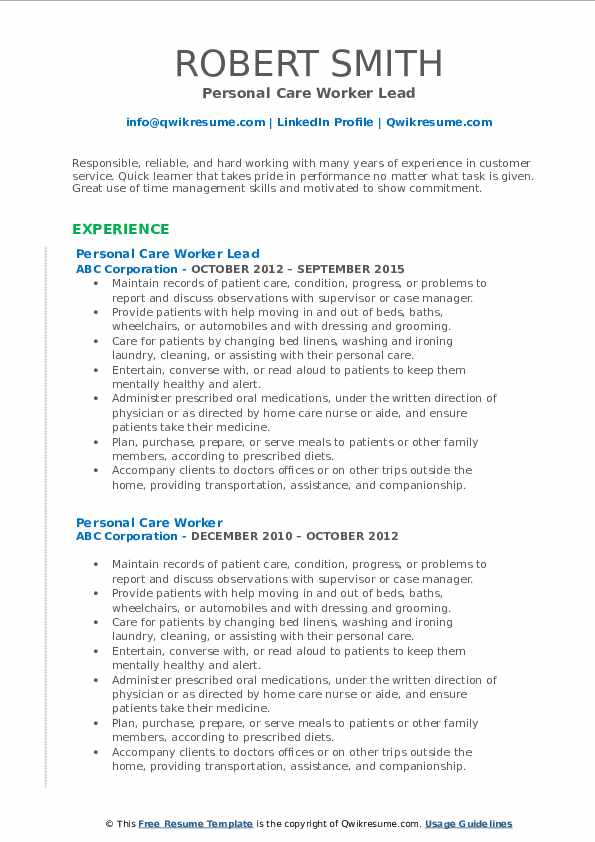 Personal Care Worker Lead Resume Example