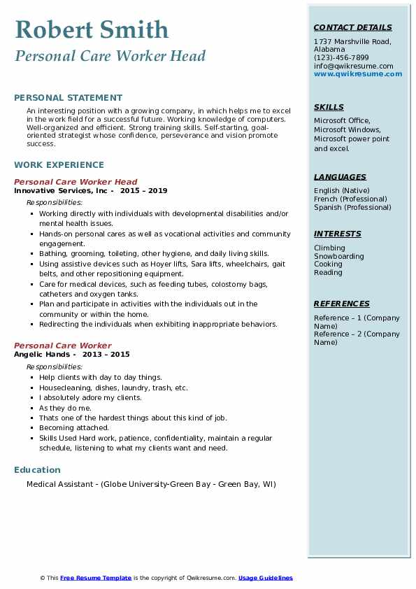 Personal Care Worker Head Resume Example