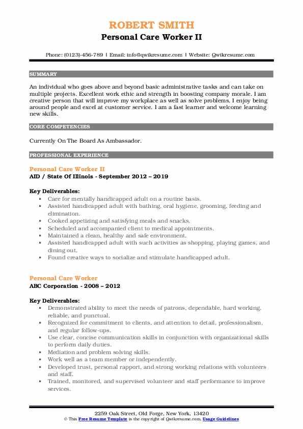 Personal Care Worker II Resume Model