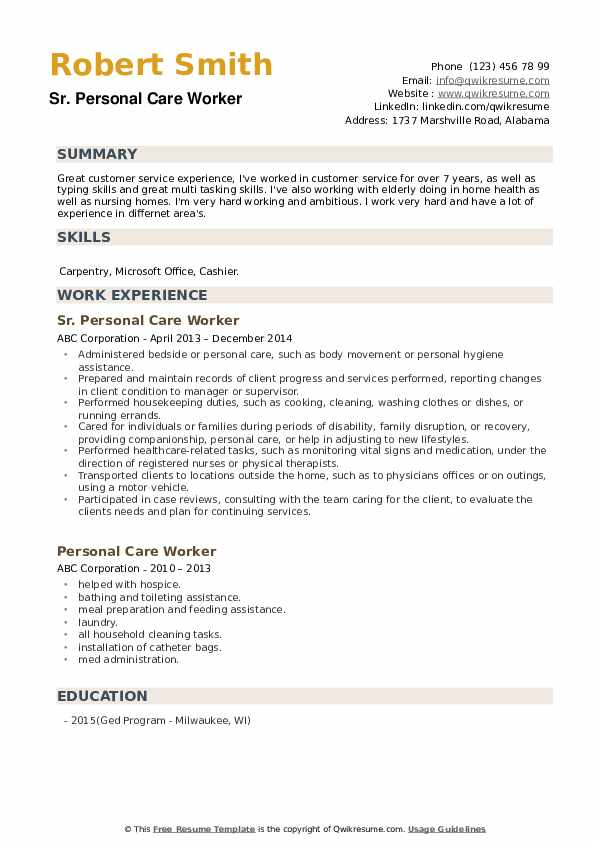 Sr. Personal Care Worker Resume Template