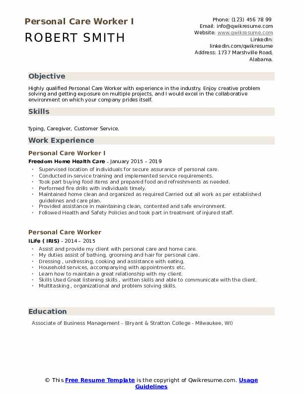 Personal Care Worker Resume Samples Qwikresume
