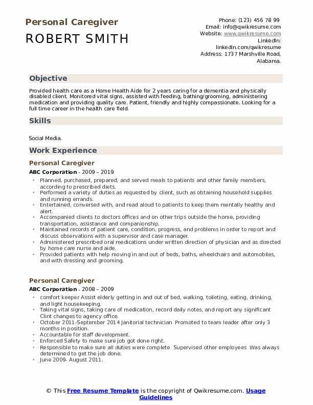 Personal Caregiver Resume Template
