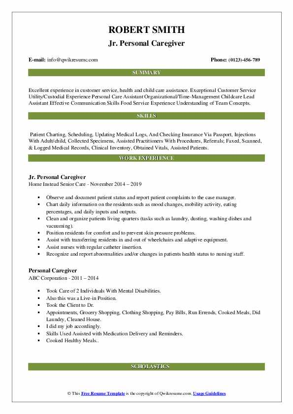 Jr. Personal Caregiver Resume Format