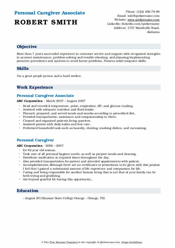 Personal Caregiver Associate Resume Format