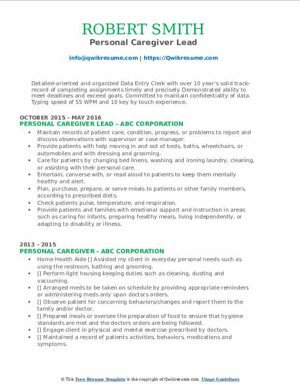 Personal Caregiver Lead Resume Sample