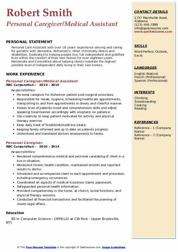 Personal Caregiver/Medical Assistant Resume Format
